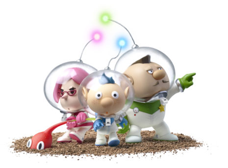 Pikmin 3 Deluxe captains Brittany, Alph, and Charlie